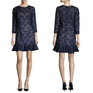 Monique Lhuillier navy lace drop waist dress